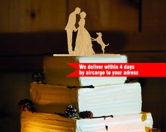 Rustic  Wedding Cake Topper - Personalized Monogram Cake Topper - Mr and Mrs - Cake Decor - Bride and Groom and dog