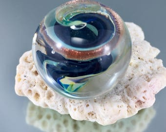 swirl lampwork marble, gold stone marble, adventurine marble, soft glass, coloured glass marble, Italian glass marble, julie vanember glass
