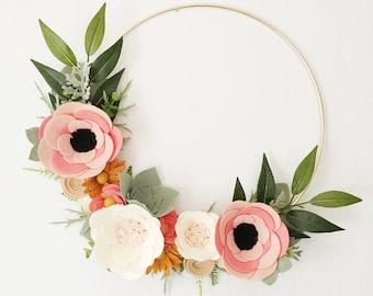 Rifle Paper Co Inspired Wreath || Rosa Floral Fabric || Felt Wreath || Wreaths || Flower Wreath || Spring Wreath || Felt Flower Wreath