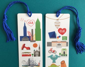 Cleveland bookmark, laminated bookmark, illustrated places in Cleveland,
