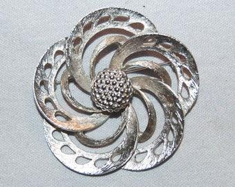 Pell Signed Brooch, Large Pinwheel Designer, Silver, Vintage old jewelry