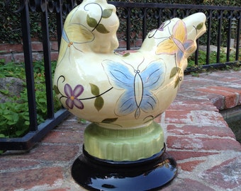 Tracy Porter Cottage Painted Ceramic Chicken Butterflies And Flowers Large 15 1/2 Inches Tall