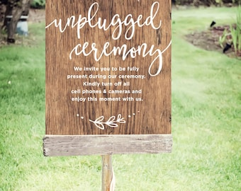 """Unplugged Wedding Sign   Printable Unplugged Ceremony Sign  Instant Download   Wedding Day Sign Rustic   Poster Size 24""""x30""""   No. EDN 2004P"""