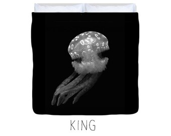 Black duvet cover, black bedding, jellyfish decor, jellyfish duvet, kid's duvet cover, child's duvet, underwater, nature decor, ocean decor