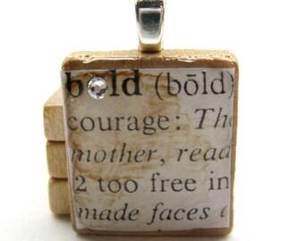 Bold - vintage dictionary Scrabble tile with Swarovski crystal