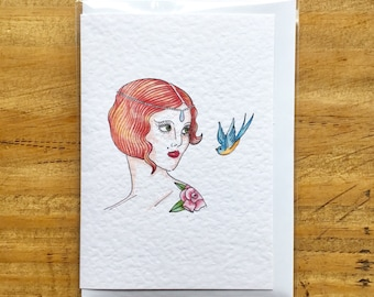 20's Redhead Vintage Girl Greeting Card