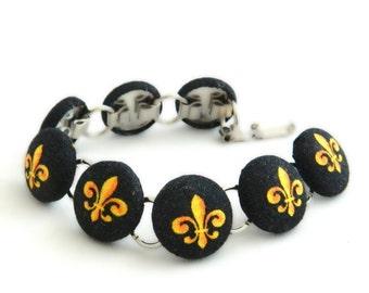 Black and Gold Fleur De Lis  Button Bracelet