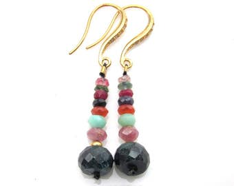 Emerald , Pink Sapphire, Chrysoprase and Carnelian Earrings - Natural Genstones Handmade Jewelry