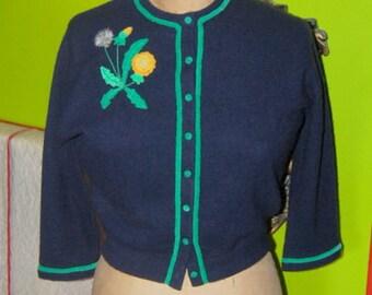 Sunflower Garden Baldwin Originals Cashmere by Hadley 1950's Sweater Rare Designer Cardigan Novelty Embellished