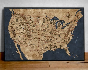 Fantasy Map of United States, Usa Map Poster, Usa Wall Map, Usa Map, United States Poster, Fantasy Usa Map, Map of United States