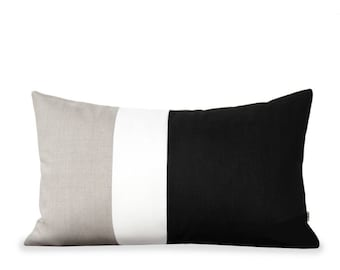 Colorblock Lumbar Pillow Cover in Black, Cream and Natural Linen (12x20) by JillianReneDecor - Modern Home Decor - Black and White