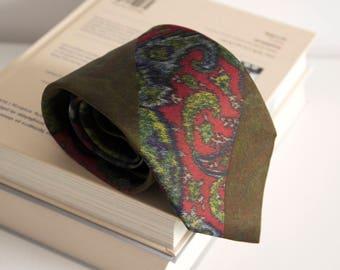 Vintage silk tie, altea mens necktie, silk neck tie, floral cravat cravatte / olive green red mens tie
