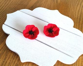 Veterans Day gift - Red Poppy Flower Brooch - Handmade Brooch from Felt - Red Flower from Felt - Birthday Gift