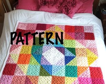 PATTERN Geometric Rainbow Granny Crochet Blanket Pattern