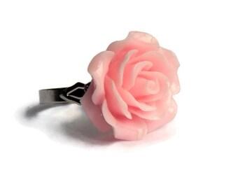 Light Pink Large Rose Ring - Pinup, Rockabilly, Retro