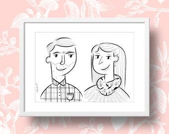 Custom ink portrait illustration - Mother's Day Special