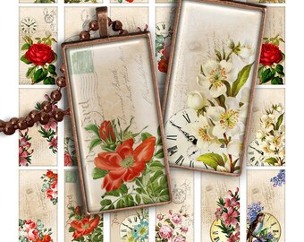 75% OFF SALE Floral Symphony Digital collage sheet PR004 printable download DOMINO 1x2 inch image rectangle glass pendant resin 1x2 digital