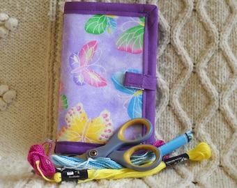 Purple Butterflies Needle Book, Needle Case, Hand Sewing Organizer