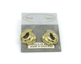 80's Gold Earrings   Unused Vintage   Gold Plated   NOS Earrings For Pierced Ears   Made In England