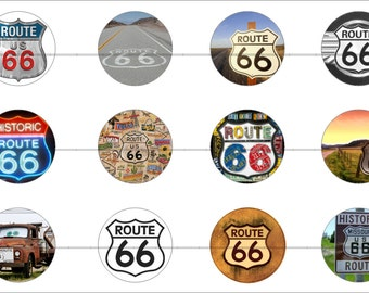 "Route 66 Magnets, Route 66 Pins, Nostalgic Pins, Nostalgic Magnets, Set 1, 1"" Flat, Hollow Backs, Cabochons, 12 ct."