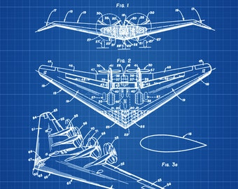 Northrop All Wing Airplane Patent - Vintage Airplane, Airplane Blueprint, Airplane Art, Pilot Gift,  Aircraft Decor, Airplane Poster,