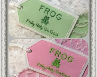 Personalized Tags, Embroidered F.R.O.G. (Fully Rely On God) Tag, Fabric Embroidered Diaper Bag Tag, Emboidered Backpack Tag