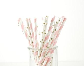 Twinkle Twinkle Little Star Paper Straws - Gold Star Straws - Set of 25