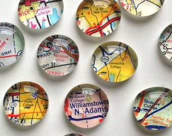 Vintage Map Magnets - NEW Colleges and Universites- great gift for the grad or alum - graduation gift - alumni gift- guy gift