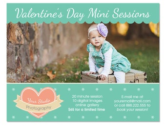 Valentine's Day Mini Session Marketing Board Template, Editable in Photoshop - INSTANT DOWNLOAD