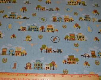 Western Blue Brown Cotton Fabric Riley Blake Saddle Up 1/2 yard listing
