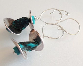 Turquoise and Silver Earrings Handmade