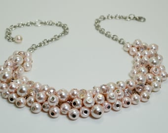 Blush Pearl Necklace, Pink Pearl Necklace, Blush Bridesmaid Necklace, Chunky Necklace, Blush Pearl Jewelry, Blush Pearl Necklace  FREE SHIP