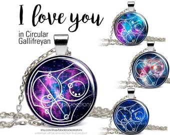 I Love You Doctor Who Necklace, Gallifreyan, Doctor Who Pendant, Whovian Jewelry, Gallifrey, Time Lord