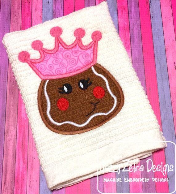 Gingerbread Princess Applique Embroidery Design - gingerbread girl appliqué design - Christmas Applique Design - princess appliqué design
