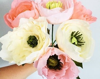 Blush, Coral and Ivory Peonies