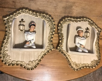 Pair of Mid-Century Chalkware/Plaster Oriental Male & Female 3D Wall Plaques-Nice!!!!