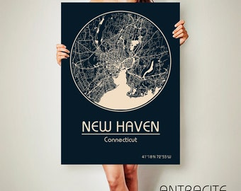 NEW HAVEN Connecticut CANVAS Map New Haven Connecticut Poster City Map New Haven Connecticut Art Print New Haven Connecticut