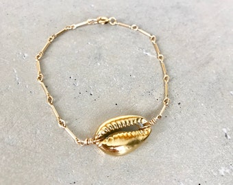 Cowrie Shell Bracelet, Gold Cowrie Shell, Kauai Made, Hawaii Jewelry