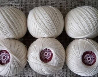 100% Mercerized Cotton Yarn Thread Milk Crochet Knitting 6sks 120g Russia