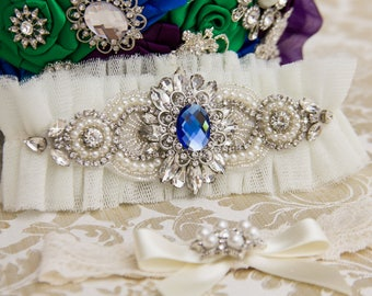 Ivory Tulle Wedding Garter Set Blue Bridal Garter Set Something Blue Garter Bridal Shower Gift Bridal Accessories