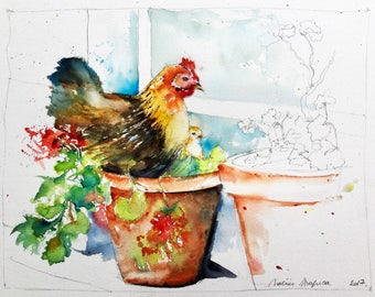 Watercolor original painting - Mother hen and chicks in geraniums (birds feathers flowers garden Farm Barn animals)