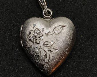 Vintage Sterling Heart Locket, Floral Engraved Design on Cover, Sterling Bail, Sterling Heart Charm, Vintage Heart Locket Pendant