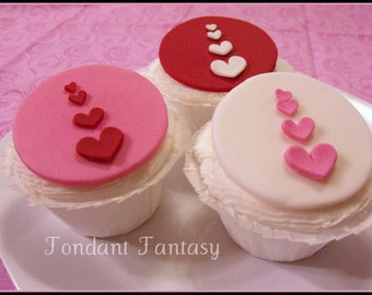 Valentine Hearts Cupcake Toppers