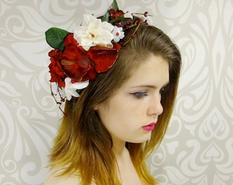 Red Velvet Orchid Flower Crown, Red and White Bridal Headpiece, Bohemian Wedding, Rustic Flower Crown, Woodland Headpiece, Flower Girl, Mori