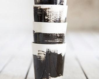 Ceramic Coffee Mug, Set Of 2, Ceramic Tea Cup, Black And White Mug, Espresso mug, Coffee Lovers Gift