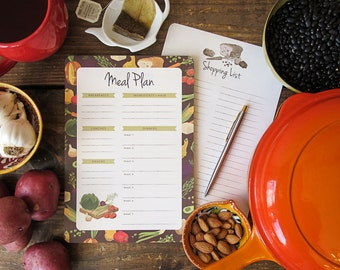 Meal Planner & Shopping List Notepad | 2-in-1 Magnetic Notepad | Grocery List | Meal Planning | Weekly Meal Plan | Meal Planner Notebook