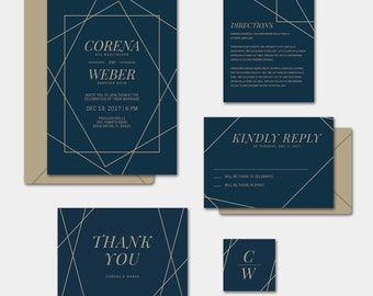 Geometric Invitation Suite | Navy and Gold Wedding Invite | Geometric Invite | Navy Invite | Unique Invite | Navy Wedding Invite