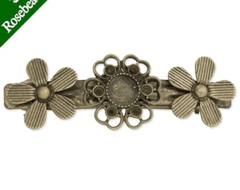 10pcs Antique Bronze 77x26mm Bobby Pin With 3 pieces flowers,fit 10mm cabochons C3372