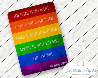 "Rainbow ""Love is Love"" Pride Flag LGBTQ+ - Travelers Notebook Laminated Dashboard - CHOOSE B6 or POCKET size"
