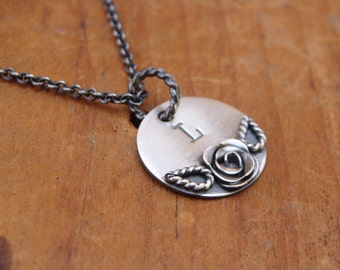 Hand Stamped Oxidized Sterling Silver Necklace--Personalized--Handmade Silver Rose--Bridesmaid Gift--Handcrafted